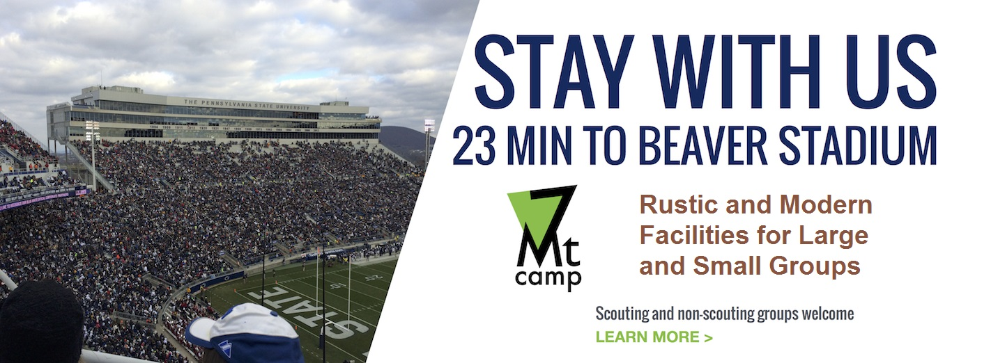 Stay with us, 23 minutes to Beaver Stadium, Scouting and non-scouting groups welcome